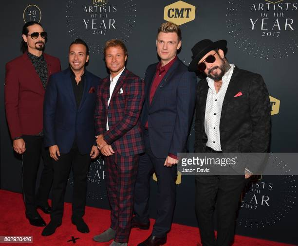 Recording Artists Nick Carter Kevin Richardson Brian Littrell Howie D and AJ McLean of The Backstreet Boys arrive at the 2017 CMT Artists Of The Year...