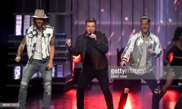 Recording artists Nick Carter of music group the Backstreet Boys and Brian Kelley and Tyler Hubbard of music group Florida Georgia Line perform...