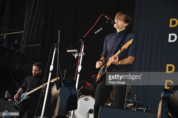 Recording artists Nick Harmer and Ben Gibbard of Death Cab for Cutie performs onstage at Firefly Music Festival on June 18 2016 in Dover Delaware