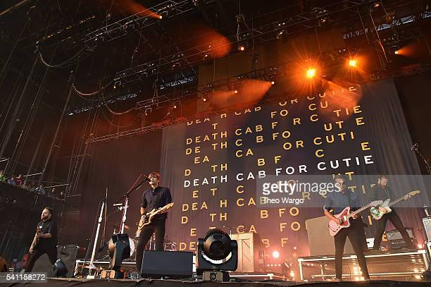 Recording artists Nick Harmer Ben Gibbard Chris Walla and Jason McGerr of Death Cab for Cutie performs onstage at Firefly Music Festival on June 18...