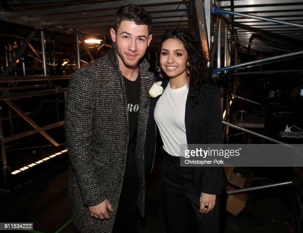 Recording artists Nick Jonas and Alessia Cara backstage at the 60th Annual GRAMMY Awards at Madison Square Garden on January 28 2018 in New York City
