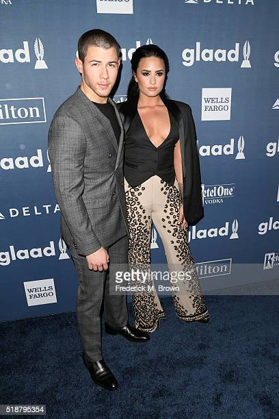 Recording artists Nick Jonas and Demi Lovato attend the 27th Annual GLAAD Media Awards at the Beverly Hilton Hotel on April 2 2016 in Beverly Hills...