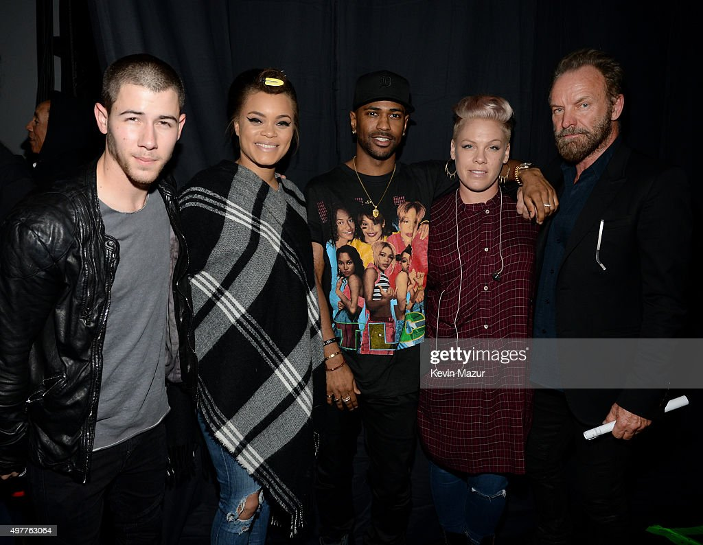 Recording artists Nick Jonas, Andra Day, Big Sean, Pink and Sting attend A+E Networks 'Shining A Light' concert at The Shrine Auditorium on November 18, 2015 in Los Angeles, California.