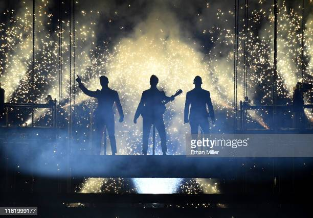 Recording artists Nick Jonas Kevin Jonas and Joe Jonas of Jonas Brothers perform during a stop of the group's Happiness Begins Tour at MGM Grand...