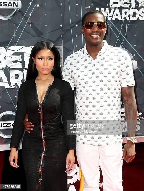 Recording artists Nicki Minaj and Meek Mill attend the 2015 BET Awards at the Microsoft Theater on June 28 2015 in Los Angeles California