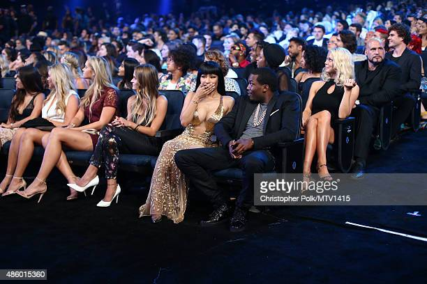 Recording artists Nicki Minaj and Meek Mill attend the 2015 MTV Video Music Awards at Microsoft Theater on August 30 2015 in Los Angeles California
