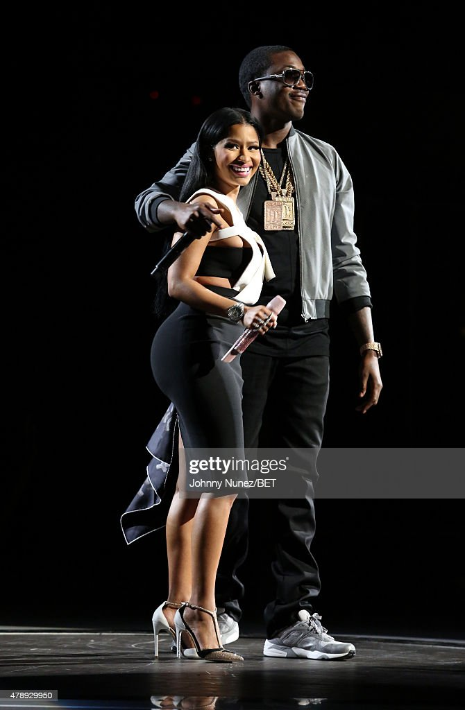Recording artists Nicki Minaj (L) and Meek Mill perform onstage during the 2015 BET Awards at the Microsoft Theater on June 28, 2015 in Los Angeles, California.