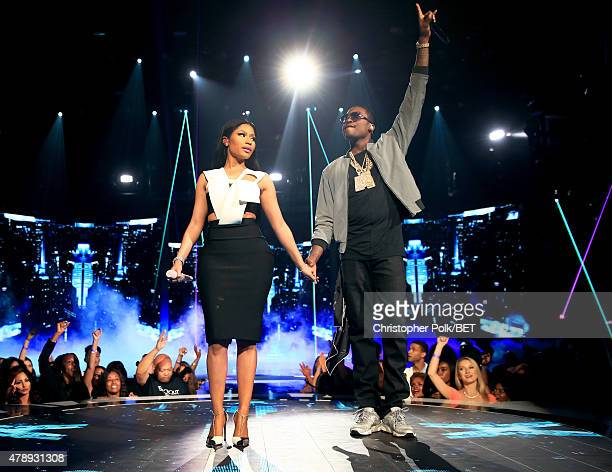 Recording artists Nicki Minaj and Meek Mill perform onstage during the 2015 BET Awards at the Microsoft Theater on June 28 2015 in Los Angeles...
