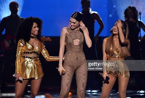Recording artists Nicki Minaj Jessie J and Ariana Grande perform onstage at the 2014 American Music Awards at Nokia Theatre LA Live on November 23...