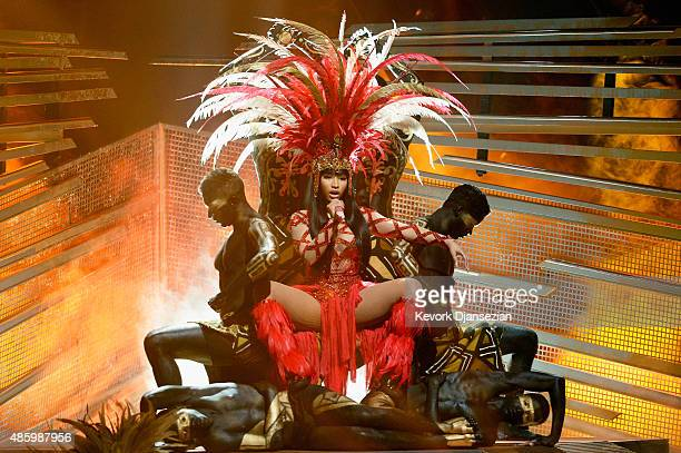 Recording artists Nicki Minaj performs onstage during the 2015 MTV Video Music Awards at Microsoft Theater on August 30 2015 in Los Angeles California