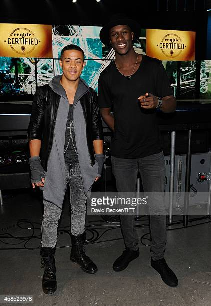 Recording artists Nicola 'Nico' Sereba and Vincent 'Vinz' Dery of Nico & Vinz attend the 2014 Soul Train Music Awards Meet and Greet With Artist at...
