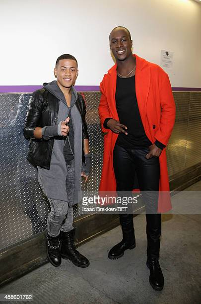 Recording artists Nicola 'Nico' Sereba and Vincent 'Vinz' Dery of Nico & Vinz attend the 2014 Soul Train Music Awards at the Orleans Arena on...