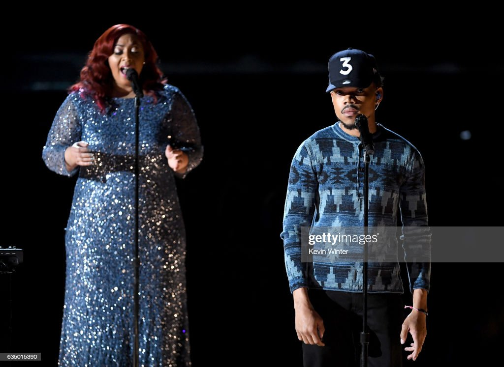 Recording artists Nicole Steen (L) and Chance the Rapper perform onstage during The 59th GRAMMY Awards at STAPLES Center on February 12, 2017 in Los Angeles, California.