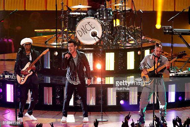 Recording artists Nile Rodgers Joe Jonas and Cole Whittle perform onstage during the iHeartRadio Music Awards at The Forum on April 3 2016 in...
