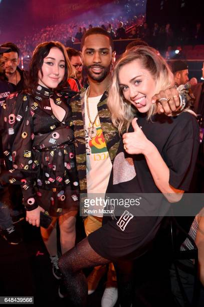 Recording artists Noah Cyrus Big Sean and Miley Cyrus attend the 2017 iHeartRadio Music Awards which broadcast live on Turner's TBS TNT and truTV at...