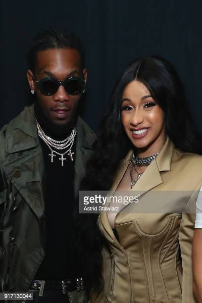 Recording artists Offset from the group Migos and Cardi B pose backstage for Prabal Gurung during New York Fashion Week The Shows at Gallery I at...