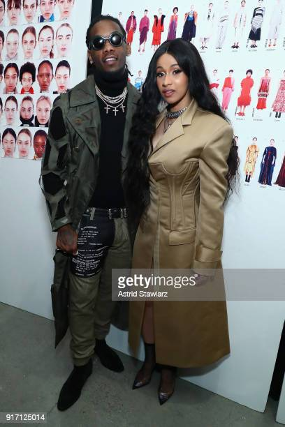 Recording artists Offset of the group Migos and Cardi B pose backstage for Prabal Gurung during New York Fashion Week The Shows at Gallery I at...