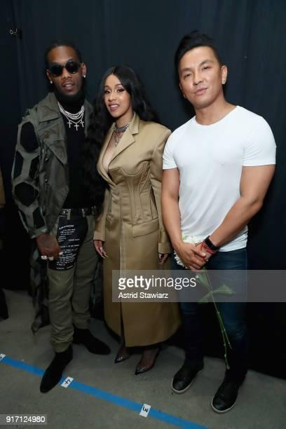 Recording artists Offset of the group Migos Cardi B and designer Prabal Gurung pose backstage for Prabal Gurung during New York Fashion Week The...