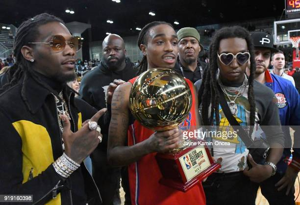 Recording artists Offset, Quavo, Takeoff of Migos pose during the 2018 NBA All-Star Game Celebrity Game at Los Angeles Convention Center on February...