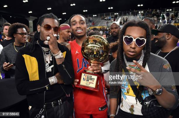 Recording artists Offset Quavo Takeoff of Migos pose during the NBA AllStar Celebrity Game 2018 presented by Ruffles at Verizon Up Arena at LACC on...