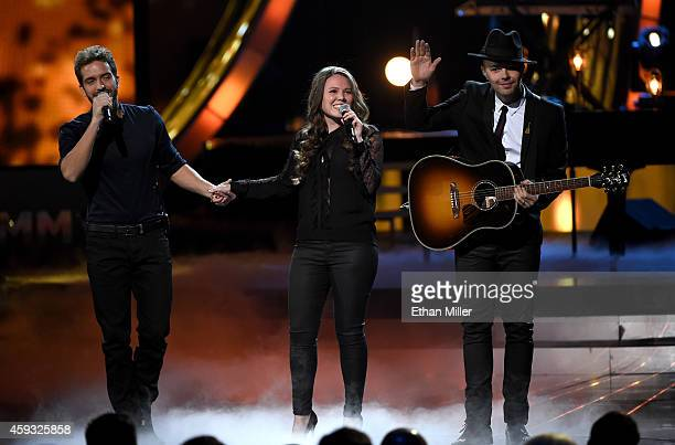 Recording artists Pablo Alboran and Joy Huerta and Jesse Huerta of Jesse y Joy perform onstage during the 15th Annual Latin GRAMMY Awards at the MGM...