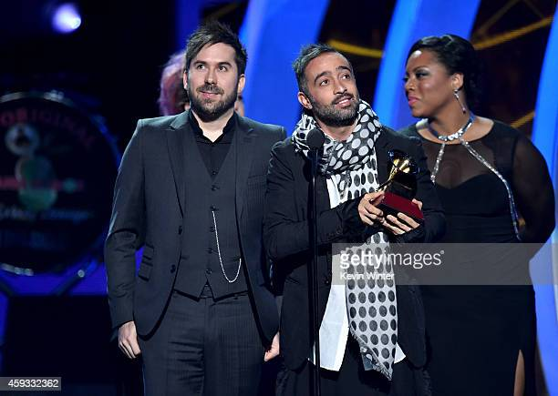 Recording artists Pablo Hurtado and Mario Domm of music group Camila accept the Best Contemporary Pop Vocal Album award for 'Elypse' onstage during...