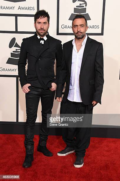 Recording artists Pablo Hurtado and Mario Domm of music group Camila attend The 57th Annual GRAMMY Awards at the STAPLES Center on February 8 2015 in...