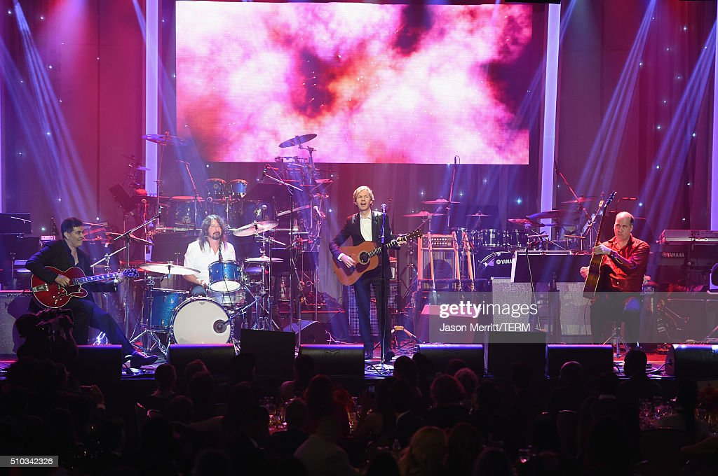 Recording artists Pat Smear, Dave Grohl, Beck and Krist Novoselic perform onstage during the 2016 Pre-GRAMMY Gala and Salute to Industry Icons honoring Irving Azoff at The Beverly Hilton Hotel on February 14, 2016 in Beverly Hills, California.