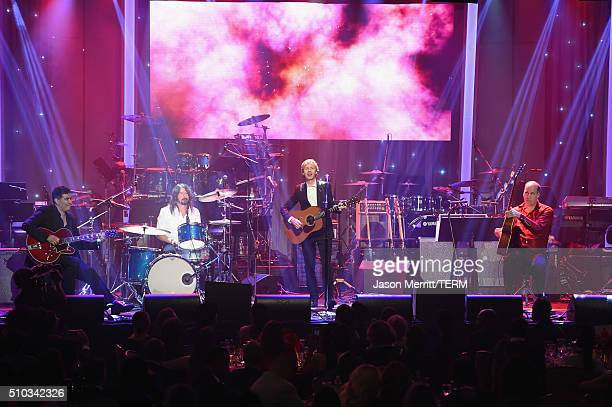 Recording artists Pat Smear Dave Grohl Beck and Krist Novoselic perform onstage during the 2016 PreGRAMMY Gala and Salute to Industry Icons honoring...