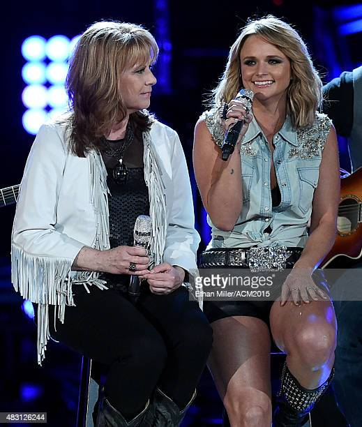 Recording artists Patty Loveless and Miranda Lambert perform during ACM Presents Superstar Duets at Globe Life Park in Arlington on April 18 2015 in...