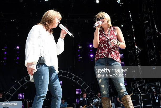 Recording artists Patty Loveless and Miranda Lambert rehearse onstage during ACM Presents Superstar Duets at Globe Life Park in Arlington on April 18...