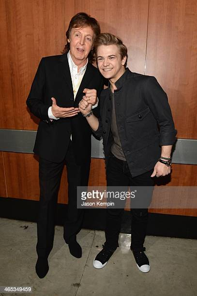Recording artists Paul McCartney and Hunter Hayes attends the 56th GRAMMY Awards at Staples Center on January 26 2014 in Los Angeles California