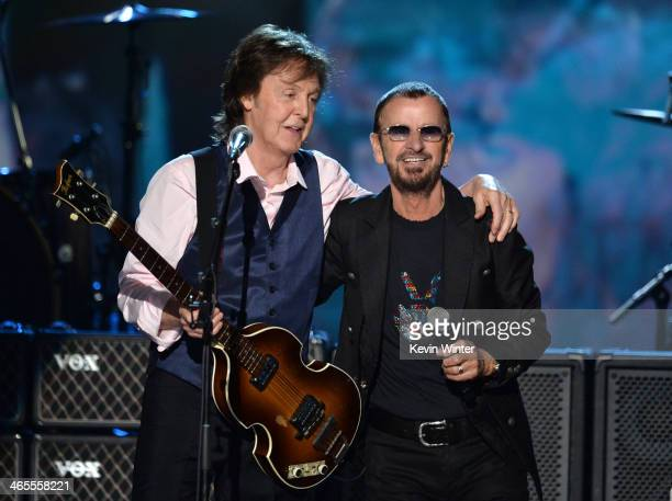 "Recording artists Paul McCartney and Ringo Starr perform onstage during ""The Night That Changed America: A GRAMMY Salute To The Beatles"" at the Los..."
