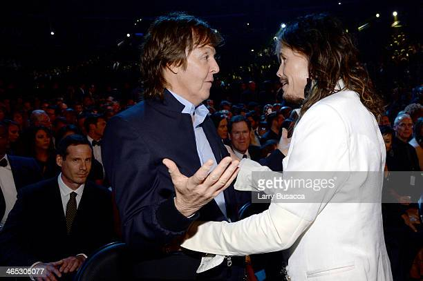 Recording artists Paul McCartney and Steven Tyler attend the 56th GRAMMY Awards at Staples Center on January 26 2014 in Los Angeles California