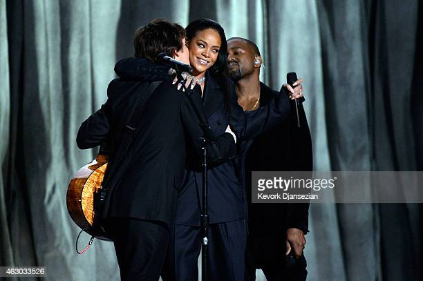 Recording artists Paul McCartney Rihanna and Kanye West perform 'FourFiveSeconds' onstage during The 57th Annual GRAMMY Awards at the at the STAPLES...