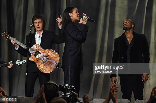 Recording Artists Paul McCartney Rihanna and Kanye West perform onstage during The 57th Annual GRAMMY Awards at the STAPLES Center on February 8 2015...
