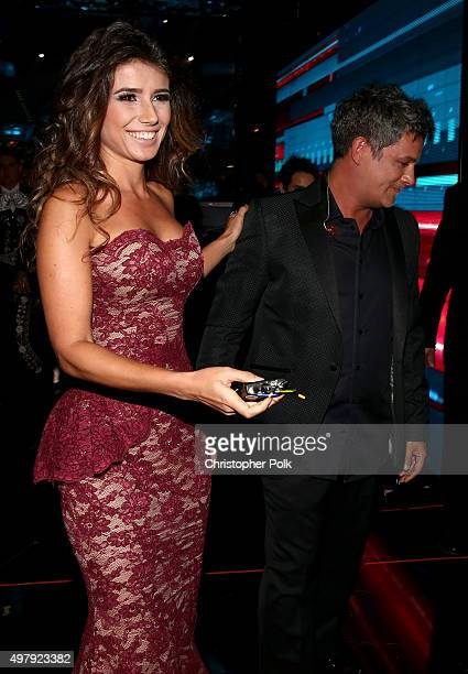 Recording artists Paula Fernandes and Alejandro Sanz attend the 16th Latin GRAMMY Awards at the MGM Grand Garden Arena on November 19 2015 in Las...