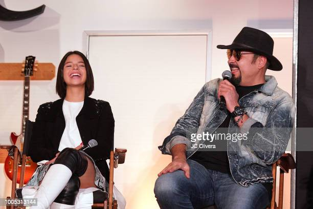 Recording artists Pepe Aguilar and Angela Aguilar attend a press conference to discuss voting rights and voter registration hosted by Pepe Aguilar...