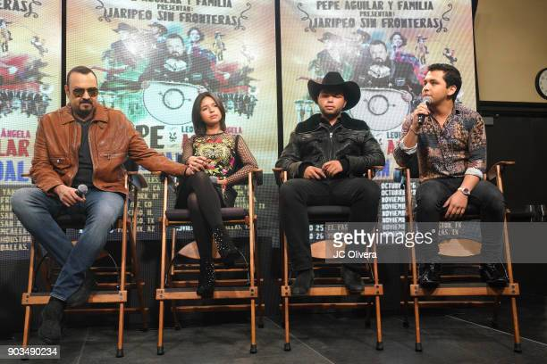 Recording artists Pepe Aguilar Angela Aguilar Leonardo Aguilar and Christian Nodal attend a press conference for the upcoming Tour 'Pepe Aguilar y...