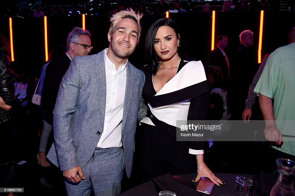 Recording artists Pete Wentz and Demi Lovato attend the iHeartRadio Music Awards which broadcasted live on TBS, TNT, AND TRUTV from The Forum on April 3, 2016 in Inglewood, California.