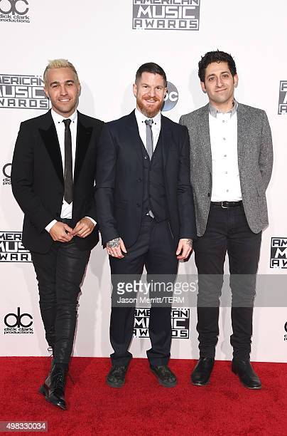 Recording artists Pete Wentz Andy Hurley and Joe Trohman of Fall Out Boy attend the 2015 American Music Awards at Microsoft Theater on November 22...