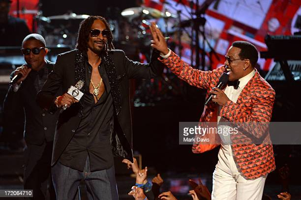Recording artists Pharrell Williams Snoop Dogg and Charlie Wilson perform onstage during the 2013 BET Awards at Nokia Theatre LA Live on June 30 2013...
