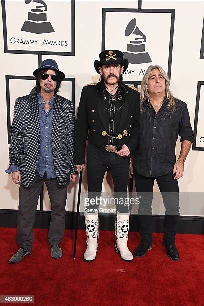 Recording artists Phil Campbell Ian 'Lemmy' Kilmister and Mikkey Dee of music group Motorhead attend The 57th Annual GRAMMY Awards at the STAPLES...