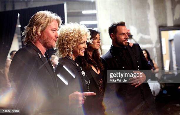 Recording artists Philip Sweet Kimberly Schlapman Karen Fairchild and Jimi Westbrook of Little Big Town attend The 58th GRAMMY Awards at Staples...