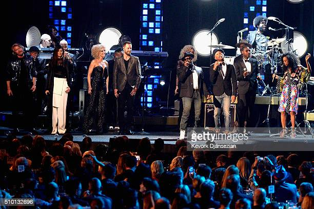 Recording artists Phillip Sweet Karen Fairchild Kimberly Schlapman and Jimi Westbrook of Little Big Town Pharrell Williams Black Thought Tori Kelly...