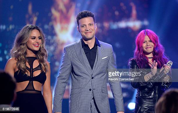 Recording artists Pia Toscano Justin Guarini and Allison Iraheta perform onstage during FOX's 'American Idol' Finale For The Farewell Season at Dolby...