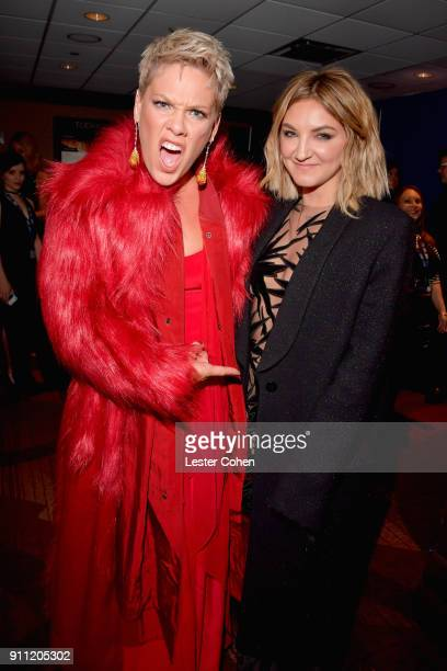 Recording artists Pink and Julia Michaels attends the Clive Davis and Recording Academy PreGRAMMY Gala and GRAMMY Salute to Industry Icons Honoring...