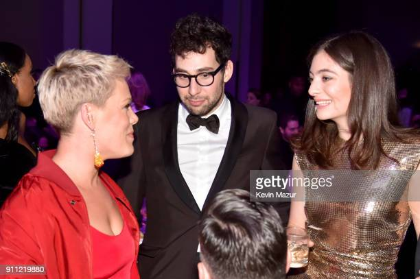 Recording artists Pink, Jack Antonoff, and Lorde attend the Clive Davis and Recording Academy Pre-GRAMMY Gala and GRAMMY Salute to Industry Icons...