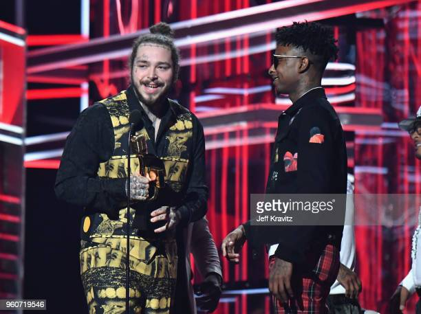 Recording artists Post Malone and 21 Savage accept Top Rap Song for 'Rockstar' at the 2018 Billboard Music Awards at MGM Grand Garden Arena on May 20...