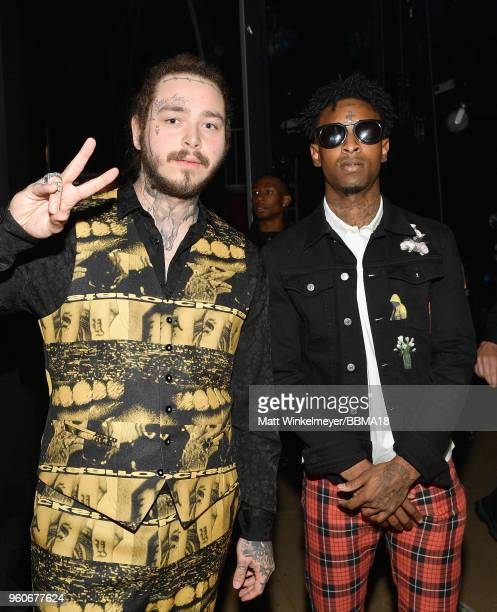 Recording artists Post Malone and 21 Savage backstage at the 2018 Billboard Music Awards at MGM Grand Garden Arena on May 20 2018 in Las Vegas Nevada